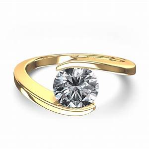 swirl bezel set 1 2 ctw diamond ring in 14k yellow gold With top wedding ring designs