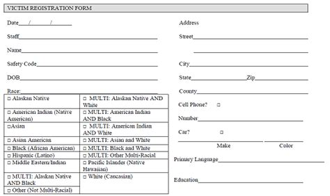 Sample Victim Registration Form