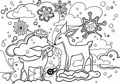 Coloring Winter Pages Forest Printable Colouring Christmas