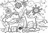 Coloring Winter Pages Printable Scene Animal Christmas Sheets Rocks Animals Adults Awesome Books Whitesbelfast Deer sketch template