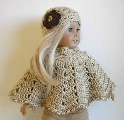18 Inch Doll Crocheted Poncho Set with Flowered Hat Handmade by Lavenderlore to fit American Girl Doll Ready to Go in Color of Your Choice