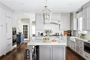 Transitional Light Grey Kitchen With Dark Grey Island