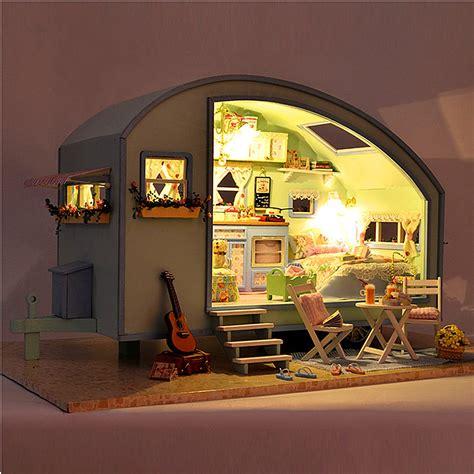 plan maison de cagne playmobil cuteroom diy wooden dollhouse miniature kit doll house led voice sale banggood