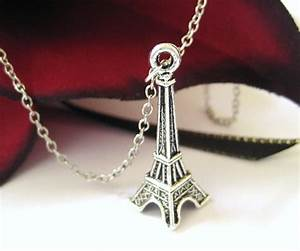 Silver Eiffel Tower Necklace Charm Necklace Teenage Girl