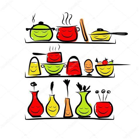 dessin d ustensiles de cuisine personnages d 39 ustensiles de cuisine sur les étagères