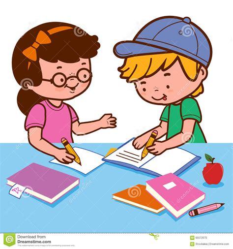 school work clipart and boy doing homework stock vector illustration of