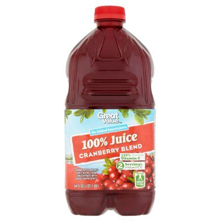Great Value 100% Juice, Cranberry Blend, 64 Fl Oz, 1 Count