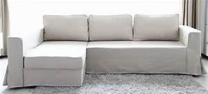 Beautify your ikea sofa with custom long skirt slipcovers for Ikea manstad sofa couch bett