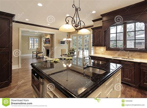 Kitchen with large island stock photo. Image of dining