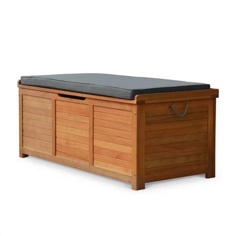coffre de jardin caja en bois 125x60cm rangement coussins avec v 233 rin et poign 233 es ecbox125gy