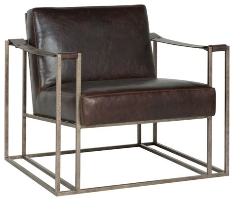 gideon industrial silver metal leather armchair