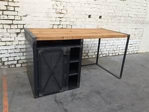 Bureau Bois Metal : bureau bois metal bureau merisier lepolyglotte ~ Teatrodelosmanantiales.com Idées de Décoration