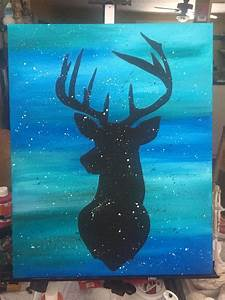 Deer, Silhouette, On, Blue, Background, With, Splatter, I, Did, It