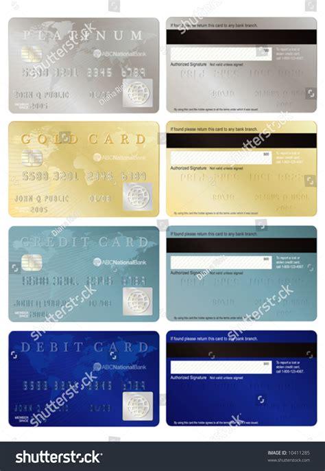 generic credit debit cards front  stock vector