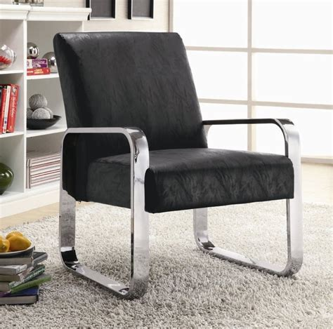 black vinyl modern accent chair with silver chrome arms