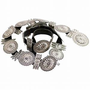 Signed Vintage Navajo Sterling Concho Belt, Repousse and ...