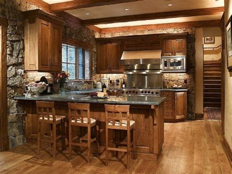 Rustic Country Kitchen Decor L Shaped Brown Finish Solid