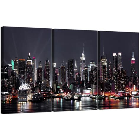 Badmöbel Set New York by Large New York Skyline Canvas Pictures Set Of 3 For Your