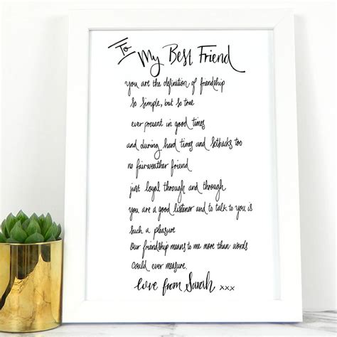 friend poem gift  de fraine design london