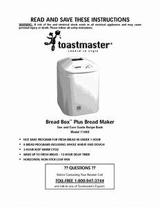 Toastmaster Inc  Use And Care Guide Recipe Book Bread