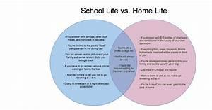 School Life Vs  Home Life  A Venn Diagram