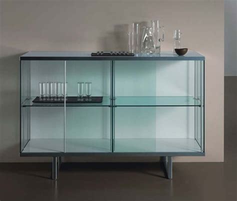 Glass Front Buffet Sideboard by Broadway Aluminum Glass High Storage Unit By Tonelli