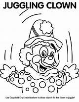 Clown Coloring Juggling Crayola Juggle sketch template