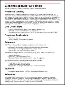 resume sle for cleaner gallery creawizard