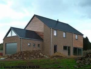 habitation osb 3 chambres avec briques bardage cedre et With maison brique et bois