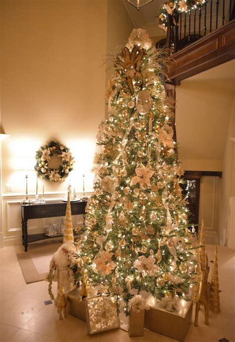 elegant christmas trees decorated  ribbon