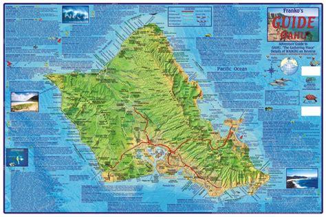 oahu guide map laminated  frankos maps