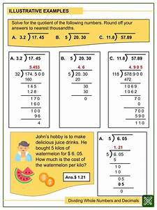 Dividing Whole Numbers And Decimals  Tenths To Thousandths