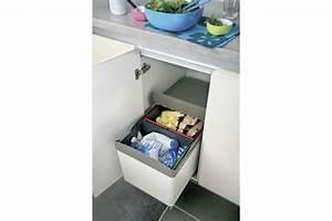 Meuble Poubelle Cuisine : poubelle 2 bacs ouverture automatique accessoires de cuisine ~ Dallasstarsshop.com Idées de Décoration