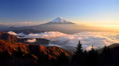 mount fuji clouds trees sky nature landscape mist