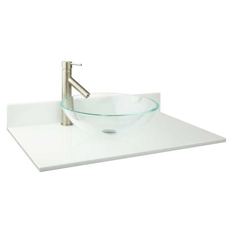 31 vanity top with sink 31 quot x 19 quot narrow depth crystallized glass stone vessel