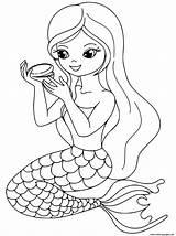 Coloring Makeup Printable Mermaid Popular sketch template