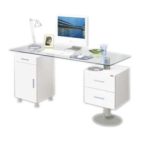 bureau blanc brillant bureau vicenca plan de travail en verre home24 fr
