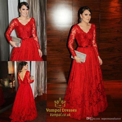 Red Lace V Neck Open Back Long Sleeve Full Length Formal ...