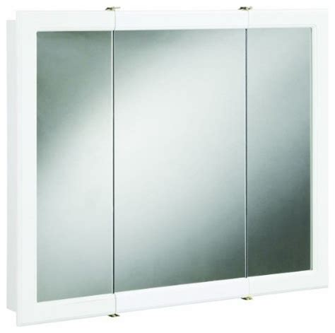 concord white gloss tri view medicine cabinet mirror with 3 doors and 2 shelves modern