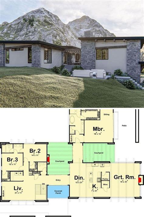 single story  bedroom exclusive modern home  courtyard  drive  garage floor plan
