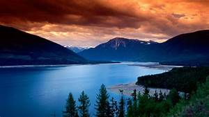 Sunset, Clouds, Mountain, Lake, Forest, Gold, Blue, Water