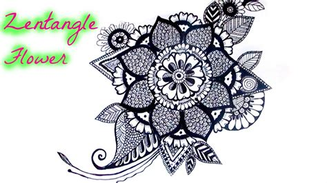 draw  zentangle flower youtube