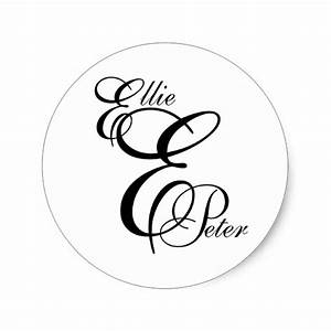 monogram three letters names wedding sticker zazzle With 3 letter stickers