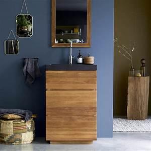 meuble en chne et vasque pierre de lave karl solo vente With meuble salle de bain pierre