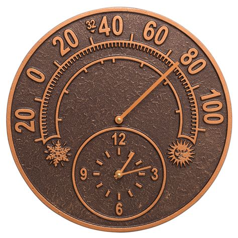 outdoor wall clock and thermometer solstice indoor outdoor thermometer wall clock 7248