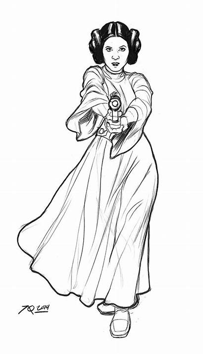 Leia Wars Star Princess Coloring Pages Sketch