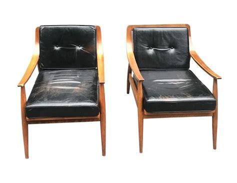 Vintage Mid Century Black Leather Armchairs, Pair