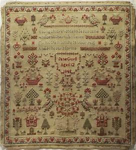 Teppich Knüpfen Vorlagen : early 19th century adam eve sampler by jane guyll 1849 stitchery pinterest rahmen ~ Eleganceandgraceweddings.com Haus und Dekorationen