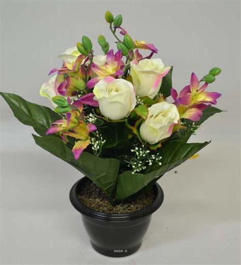 composition en pot plastique roses et orchid 233 es lest 233 e ext 233 rieur h 32 cm du site artificielles