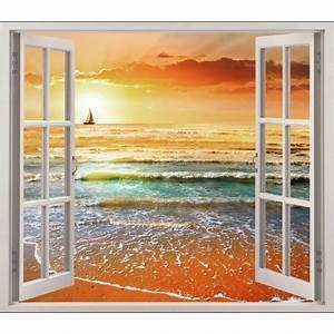 Tableau Trompe L Oeil Paysage : sticker fen tre trompe l 39 oeil coucher de soleil r f 5451 stickers muraux deco ~ Melissatoandfro.com Idées de Décoration